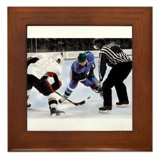 Ice Hockey Players and Referee Framed Tile
