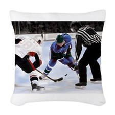 Ice Hockey Players and Referee Woven Throw Pillow