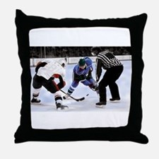 Ice Hockey Players and Referee Throw Pillow