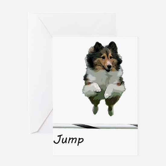 Sheltie Jump Greeting Cards