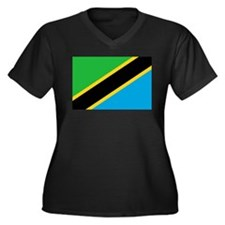 Tanzania Flag Women's Plus Size V-Neck Dark T-Shir