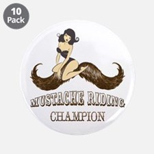 "Mustache Riding Champion 3.5"" Button (10 pack)"