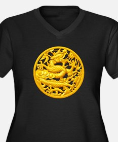 Golden Drago Women's Plus Size V-Neck Dark T-Shirt