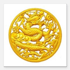 "Golden Dragon Square Car Magnet 3"" x 3"""