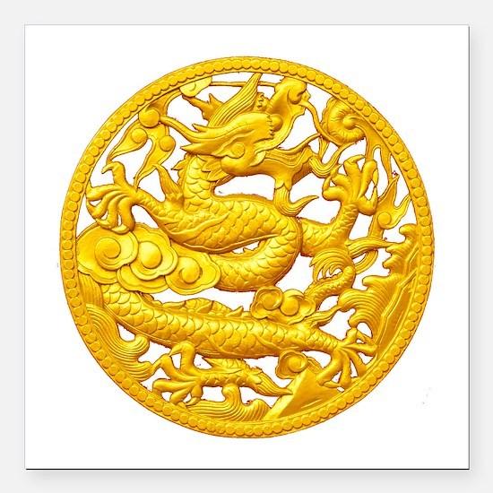 "Golden Dragon Square Car Magnet 3"" x 3"""