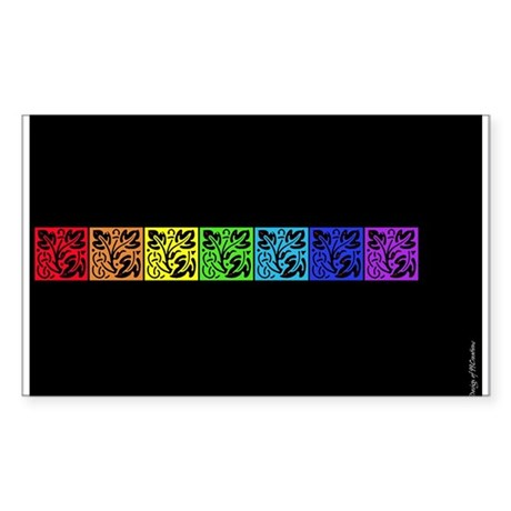 Colours On Balck Rectangle Sticker