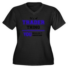 Cute Trader Women's Plus Size V-Neck Dark T-Shirt