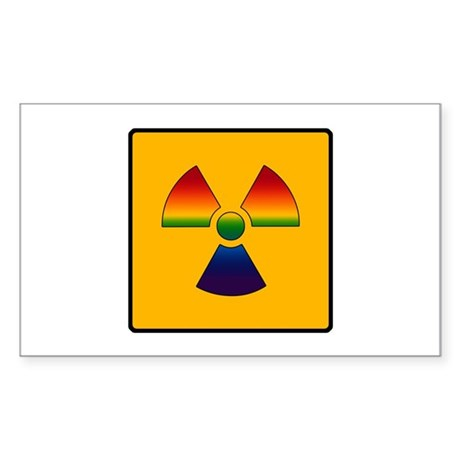 Gay Pride - Gay Radiation Sign Sticker (Rectangula