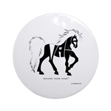 Nadia Black Horse Ornament (Round)