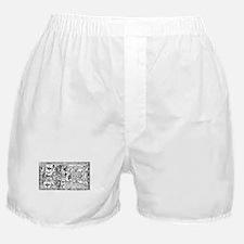 Palenque Ancient Astronaut UFO Black Boxer Shorts