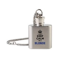 Cute Keep calm and date a blonde Flask Necklace