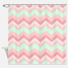 mint pink chevron Shower Curtain