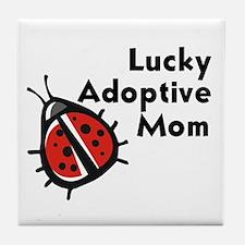 Lucky Adoptive Mom Tile Coaster