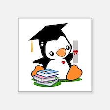 "Graduation Penguin Square Sticker 3"" x 3"""