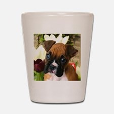 Boxer puppy in tulips Shot Glass
