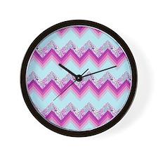 damask fuschia chevron Wall Clock