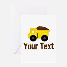 Personalizable Dump Truck Brown Greeting Cards