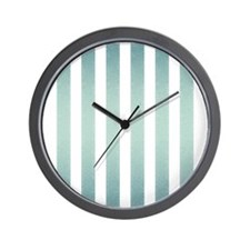 Turquoise Faux Glittery Stripes Wall Clock