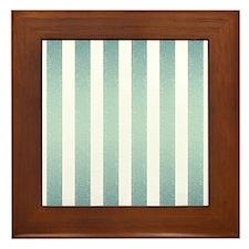 Turquoise Faux Glittery Stripes Framed Tile