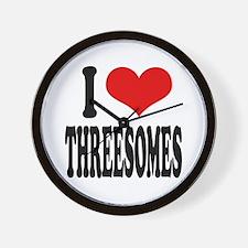 I Love Threesomes Wall Clock