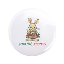 "GREEN FOOD ROCKS 3.5"" Button"