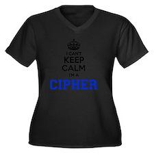 Unique Cipher Women's Plus Size V-Neck Dark T-Shirt