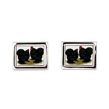 Cochins Black Bantams Rectangular Cufflinks