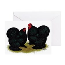 Cochins Black Bantams Greeting Cards
