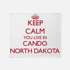 Keep calm you live in Cando North Da Throw Blanket
