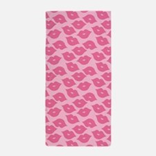 Girly Pink Lips Beach Towel