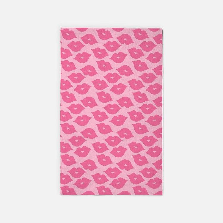 Girly Pink Lips Area Rug