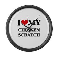 I Love My CHICKEN SCRATCH Large Wall Clock