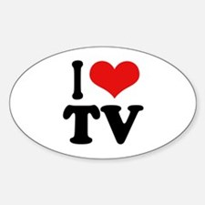 I Love TV Oval Decal