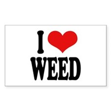 I Love Weed Rectangle Decal