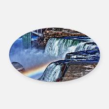 Unique Rainbow falls Oval Car Magnet