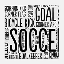 Soccer Word Cloud Tile Coaster
