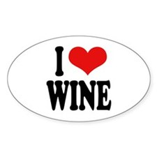 I Love Wine Oval Decal