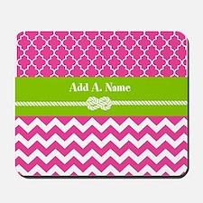 Pink Green Quatrefoil Chevron Personaliz Mousepad