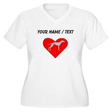 Custom Whippet Heart Plus Size T-Shirt