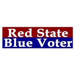 Red State, Blue Voter (bumper sticker)