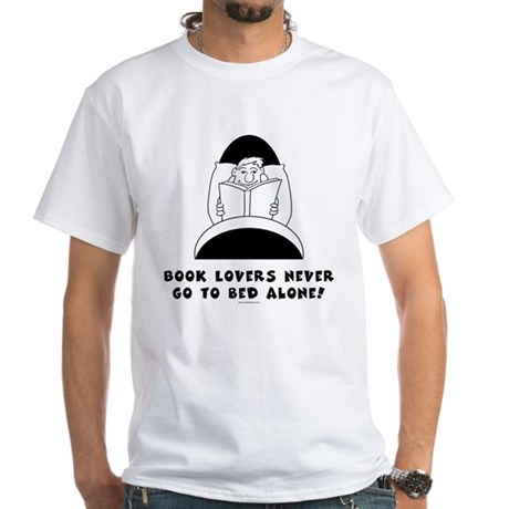 Book Lovers Bed-Male<br> White T-Shirt