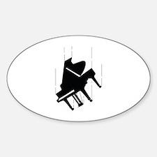 Falling Piano Sticker (Oval)
