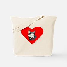 Siberian Husky Heart Tote Bag