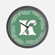 Green Personalized Monogram Initial Wall Clock
