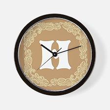 Beige Personalized Monogram Initial Wall Clock