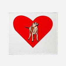 Wirehaired Vizsla Heart Throw Blanket