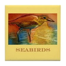 Sandy Beach Shorebird Tile Coaster