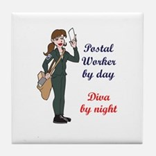 POSTAL WORKER BY DAY Tile Coaster