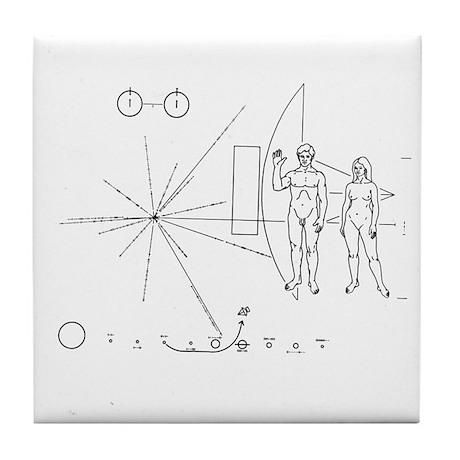 Pioneer 10 Greetings Plaque Tile Coaster