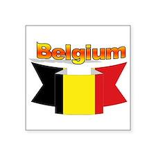 """Belgian flag ribbon Square Sticker 3"""" x 3"""""""